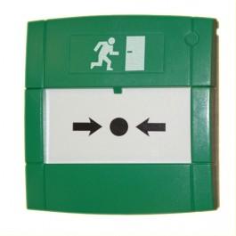 Groene handmelder voor nooddeur ontgrendeling